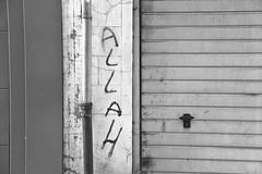 Allah (just.Luc) Tags: bn nb zw monochroom monotone monochrome bw graffiti word woord mot wort letters lettres regenrohr regenpijp rainpipe tuyaudécoulement mechelen malines vlaanderen flandres flanders belgië belgien belgique belgica belgium europa europe