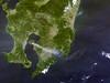 Smoke and Ash from Sakurajima, variant (sjrankin) Tags: 15april2018 edited nasa modis 250m kyushu kagoshima pacificocean volcano sakurajima volcanicplume ash kirishima terra
