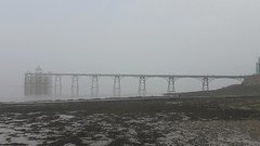 Pier in the Mist (Kevin Pendragon) Tags: clevedon spring outdoors water severn mud seaweed pebbles metal wood struts