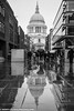 St. Paul's Reflections (scott calnon) Tags: stpauls reflections mono raining people street umbrellas moody london gritty atmospheric urban streetphoto capital uk ldn cathedral blackandwhite historic milleniumbridge stunning beautiful