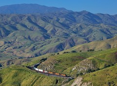 Tehachapi Mountains (rolfstumpf) Tags: usa california tehachapimountains bealville bnsf trains railway railroad mountains green spring landscape geography transportation freighttrain olympus