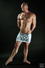 'This above all, to thine own self be true' (Matthias 09) (WF portraits) Tags: pol male man portrait studio naked nude chest arms hairy legs beard tshirt message bald shavedhead muscles fitness gym