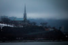 Dreary Start to Easter (langdon10) Tags: canada canon70d quebec rain shoreline stlawrenceriver church foggy mist