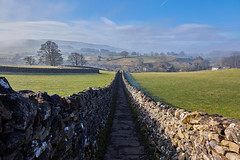 Sedber Lane (scottprice16) Tags: england yorkshire yorkshiredalesnationalpark wall drystonewall path lane grassington wharfedale linton morning mist frost march spring shadow trees colour canon canoneos6d 24105mmf4l outdoors walking leisure sky