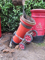 Post Box Recovery - Day 2 - box and trolley lifted to make them tip into the hole (kitmasterbloke) Tags: postbox royalmail edwardviii abdication pillar red mail letter delivery historic halstead essex uk outdoor