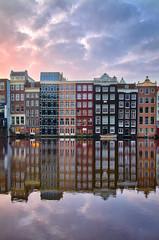 Miroir hollandais (donlope1) Tags: architecture city amsterdam holland canal reflection morning sunrise damrak windows light cityscape