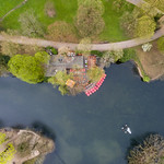 Aerial photo of paddleboats at the pond in Volksgarten in Cologne thumbnail