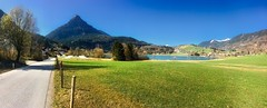 Panorama view of lake Thiersee with Pendling mountain in Austria (UweBKK (α 77 on )) Tags: panorama lake thiersee view scenery scenic landscape pendling mountain grass field green blue sky alps austria österreich europe europa iphone tyrol tirol
