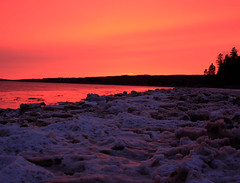 Winter Sunset (whalenbrenda) Tags: sunset sunsetlovers winter wintertime ice snow iceberg snowcovered landscape nature novascotia bayoffundy cold water saltwater tide ocean maritimes orange orangehue sky dusk longexposure scenic beach horizon photography image