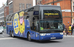 South Gloucestershire Bus & Coach ( Durbin ) . Patchway , Bristol . SG34 KX14HSU . Elizabeth Street , Victoria , London . Friday 25th-May-2018 . (AndrewHA's) Tags: victoria london bus coach scgb south gloucestershire buscoach patchway bristol van hool tx 21 altano sg 34 kx14hsu megabus route m6 exeter plymouth left hand drive belgium registration 1hhy180 55012