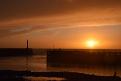 Glorious golden glowing sunset (karen leah) Tags: sunset dusk twilight april spring aberystwyth ceredigion sea seascape beautiful peaceful calm outdoors lighthouse jetty tanybwlch