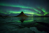 Arora Borealis over Mount Kirkjufell in the winter. (Angus Goosey Cogan) Tags: 1635 5dmkiii angus aroraborealis atmosphere cogan georgeous hills ice iceland island kirkjufell landscape light mountain northernlights scenic seascape sky wideangle winter sn snæfellsnes grundarfjörður arora