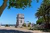 Lisbon : Belém Tower (Pantchoa) Tags: lisbonne portugal belém tour architecture pierres vieilles palmiers platane arbres tage fleuve ciel cristorei drapeau portugais européen