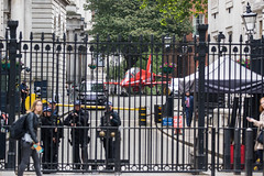 RAF Red Arrow Hawk in Downing Street!! (baldychops) Tags: london city capital outdoor spring icon iconic famous visit visitor downingstreet downing street hawk raf redarrow red plane aircraft gate gates police