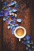 Coffee time and blue petals (Ramón Antiñolo) Tags: spring flower petal romantic floral valentine love wedding blossom topview flatlay table bloom anniversary celebration mothersday vintage wooden happy violet valentinesday blue springtime fallinginlove shabbychic breakfast coffee cup espresso beverage drink hydrangea matte