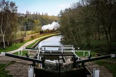 Great Britain Kirkstall (Andrew Shenton) Tags: 35018 britishindialine merchantnavy kirkstall lock canal steam railway greatbritainxi