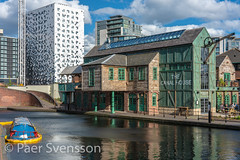 Birmingham, England - April 27, 2018: The Canal house Birmingham, Pub & Resturant. (per.svensson@mac.com) Tags: sunny sightseeing england sky pier riverboat brick resturant tourist vacation design picturesque cloudy stairs unitedkingdom canal abandoned cityscape canalboat travel holiday greatbrittain sunk architecture boat old birmingham canalhouse colors gb surfing building