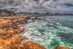 Cool Clear Water (Michael F. Nyiri) Tags: montereyca california northerncalifornia ocean waves rockyshore rocks clouds