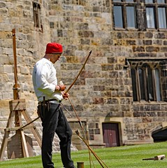 The Red Wyverns at Skipton Castle (grab a shot) Tags: canoneos5dmarkiv canon eos 5d britain uk england northyorkshire skipton skiptoncastle 2018 heritage medieval castle 1460 henryvi lordjohnclifford redwyvernsociety historical reenactment warsoftheroses hundredyearswar fifteenthcentury livinghistory war man soldier military bow arrow