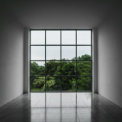 Framing a View (tehroester) Tags: architecture nature white green trees forest sony alpha a7 2470 zeiss museum insel hombroich glass frame square ngc