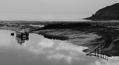 Silent Coast (JamieHaugh) Tags: clevedon north somerset england uk gb great britain outdoors sony a6000 alpha zeiss ilce6000 black white monochrome bw boats coast ghost water sky sea port harbor harbour horizon seascape reflections hill steps rocks mud clouds