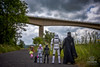 family day out (kapper22) Tags: storm trooper darth vader bike doll toys photoshop outdoors bridge sky fun path tarka trail grass trees