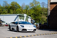 Checking out the rear... (Supercar Stalker) Tags: lamborghini murcielago lamborghinimurcielago supercar supercarstalker autoitalia brooklands lambo white girl