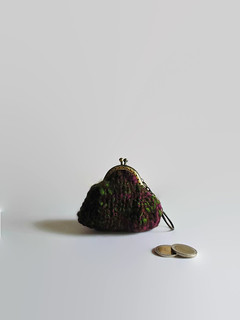Coin Purse Hand Knitted in Marl Burgundy Green Wool