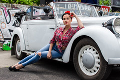 Ukrainian pin-up style girl at autoshow (yedmitry) Tags: purple pinup model ukrainian beauty car motorshow