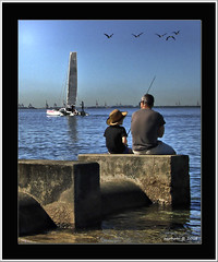 Precious time spent together. (agphoto100) Tags: frame sony dsch5 crop birds render boat water creek wet blue sky seagulls pipe rest sit fishing rod pole sail shirt hat straw waves boy father concrete harbour cabbagetreecreek bay