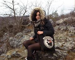 Woman on a mission (vaso80) Tags: girl woman šárka park trees bush rock mamiya mediumformat mittelformat 6x7 kodakportra 120 winter portrait womanonamission bag analog analogue film