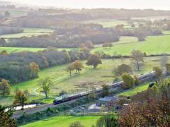 Through Autumn Hills (Deepgreen2009) Tags: tornado autumn hills surrey railway train steam uksteam downs victoria gloucester golden mist landscape fields woods