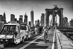 Brooklyn Bridge.. (Flipper24.) Tags: cyclist bike nyc newyork brooklynbridge bw mono usa nikon d7100