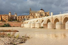 Roman Bridge and Mosque - Cathedral in Cordoba (Paweł Błaszak) Tags: travel spain cordoba andalucia bridge arch arches river mosque romanbridge