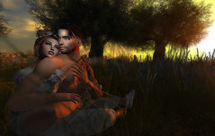 Spring Lovers (Chelsea Chaplynski ( Amity77 inworld)) Tags: samposes couple spring happy man woman avatar love sky trees lovers pose fair chelsea