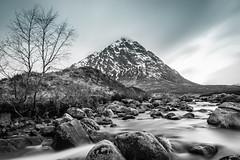 Buachaille Etive Mòr (Ian D) Tags: waterfall buachailleetivemòr blackandwhite mountain scotland winter longexposure glencoe