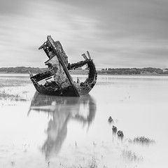 Decay (Paul Evans.) Tags: boat yacht ship wooden decay decompose rotting rot perish fester deteriorate river estuary sea water withering spoilage nd filter neutral density long slow exposure black white bw mono tone fleetwood paul evans