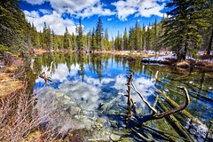 Easter 2017 at Beaver ponds 2 (John Andersen (JPAndersen images)) Tags: alberta arch beaver canada clouds dam day golden kananaskis lake mountains reflections sky