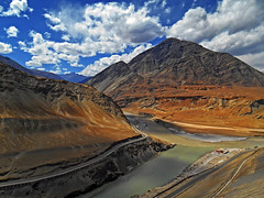 """Life is more manageable when thought of as a scavenger hunt as opposed to a surprise party."" - Jimmy Buffett (Abeer!) Tags: zanskar indus confluence nimo ladakh ladakhhimalayas india abeer abeerbarman landscape blue clouds himalaya himalayas highaltitude hill mountain nature road path river sky scenery valley vale water"