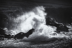Splash (mveskilt) Tags: waves splash ocean shore beach rocks cliffs fine art black white blackandwhite foam greyscale shadows contrast silhouette photo print martin veskilt photography dingle ireland fineart landscape seascape outdoors sea inlet