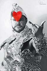 The Tin Man and his Heart (Philip Bonneau) Tags: blackandwhite blackandwhitephotography tinman tinwoodsman tin tinfoil portrait heart anger emotion beard wizardofoz oz conceptual