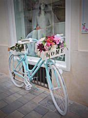 There's no place like (Couldn't Call It Unexpected) Tags: bicycle flowers window shop mao mahon menorca spain bride bike