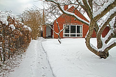 Snowclad red brick house from 1950 (sunsju) Tags: outdoor winter snow house garden tree
