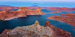 Water Maze (Ryan Moyer) Tags: kanab utah landscape lakepowell alstrompoint lake waterscape redrock rocks formations desert twilight sunset