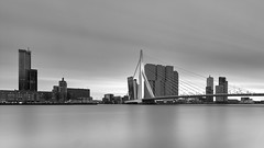 Altijd (zsnajorrah) Tags: urban city skyline skyscraper highrise bridge architecture water river blackandwhite monochrome evening longexposure neutraldensityfilter breakthroughphotography x4nd10 x4nd3 tiffen gradnd manfrotto redged canon 7dmarkii efs1018mm netherlands rotterdam maas kopvanzuid erasmusbrug erasmusbridge maastoren nieuweluxor torenopzuid derotterdam neworleans montevideo worldportcentre sky