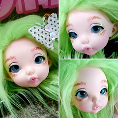 Pistachio with some random eyes and fur wig, I wanted to see how she looked with them (KiwisBitterSweet) Tags: fairyland realfee rlf tiny bjd nanuri18 nanuri 18 doll wintereventhead winter event head pistachio