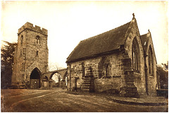 Old Chancel, Rugeley (Jason 87030) Tags: old remains historic 12thcentury rugeley town staffordshire sony ilce alpha a6000 olde effect pse photoshop picmonkey textures border composition derelic crumbling stone architecture oldchancel church naive uk england work mono sepia image photo
