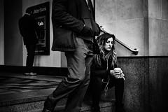 Overlook (Kieron Ellis) Tags: woman sad sitting street candid blackandwhite blackwhite monochrome smoking coffee cigarette steps