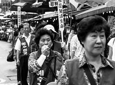Seoul, South Korea 2016 (MonkeyTakingPics) Tags: red asia south korea people street city downtown seoul namdaemun market summer bw blackandwhite streetphotography canon 7d urban religion ngc