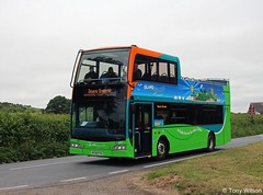 HF09 FVU Go-Ahead Southern Vectis 1401 Scania N230UD with Optare Visionaire body near Bembridge June18 (Copy) (focus- transport) Tags: goahead southern vectis volvo b7tl plaxton president scania omnicity n230ud k114 irizar century optare visionaire solo sr alexander dennis e40d enviro400 mmc